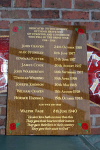 War hero's honours board